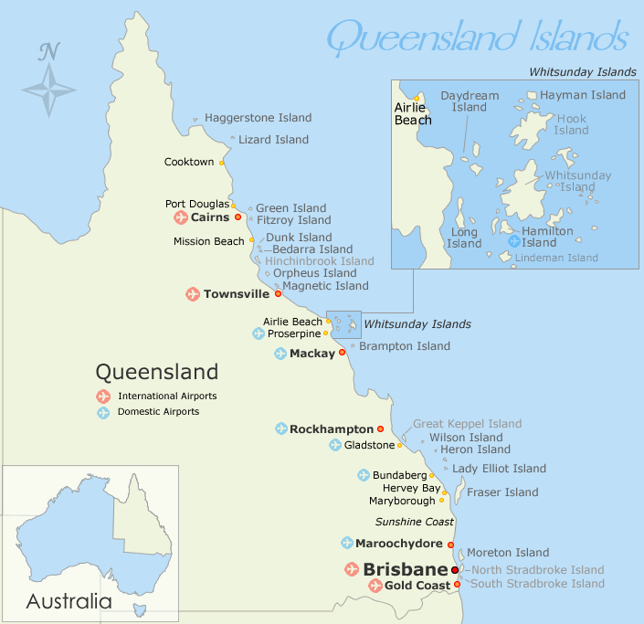 Map 9f Australia.Queensland Islands Map